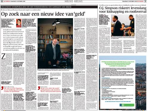 Bron: De Morgen, maandag 6 oktober 2009, pagina 10 en 11